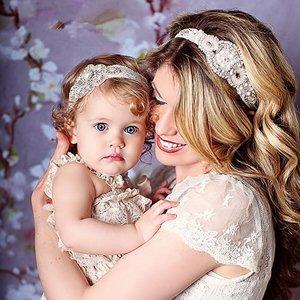 Baby/kind strass haarbanden set mama en me