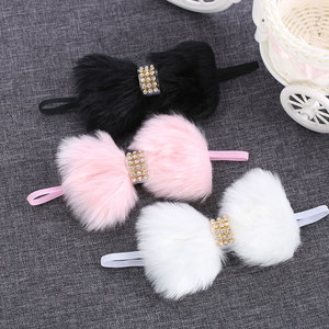 Baby/kinderen hoofd/haarband konijnenbont strik